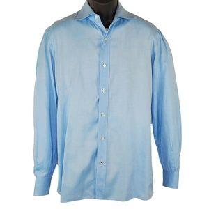 Isaia Dress Shirt Blue Button Up 100% Cotton 16 41